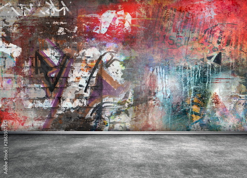 Montage in der Fensternische Graffiti Graffiti wall grunge background