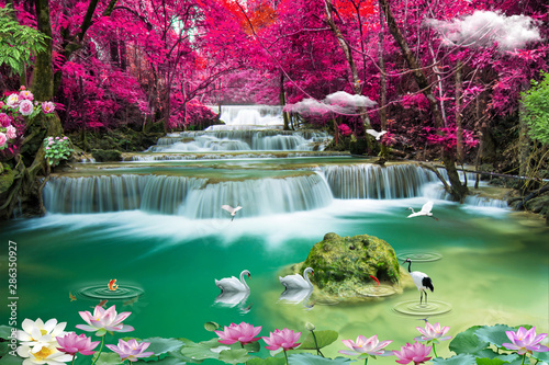 3d nature waterfall and sea tree wallpaper