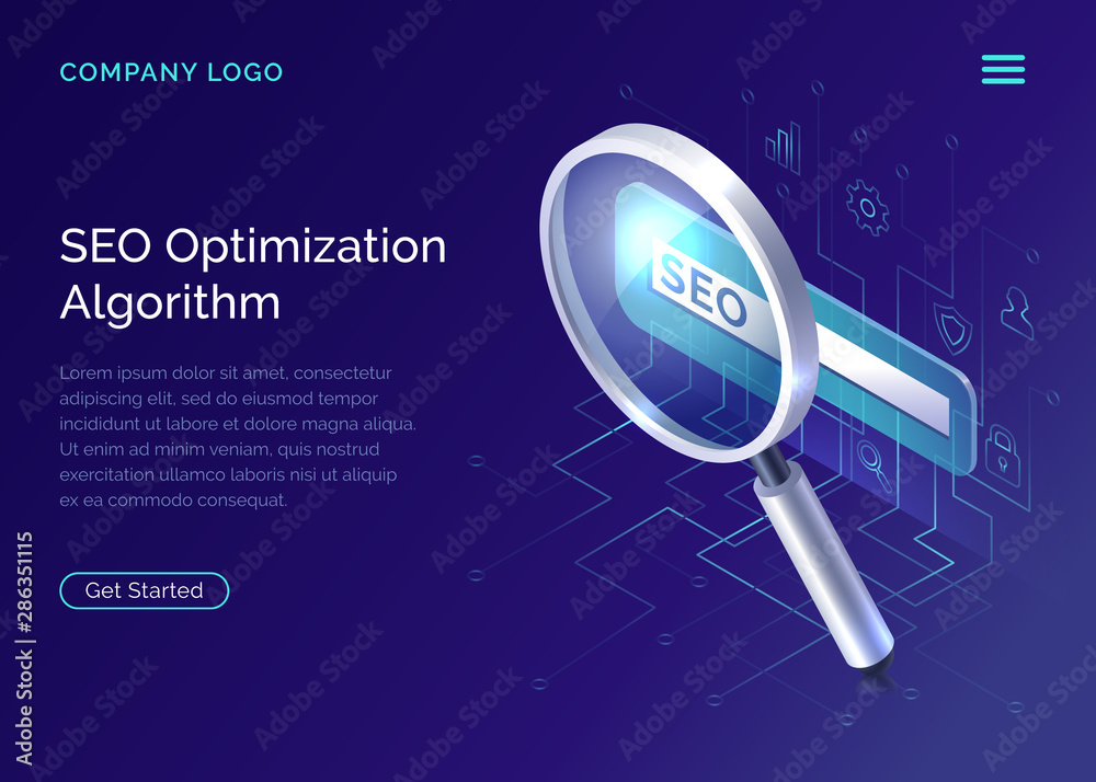 Fototapeta SEO, search engine optimization algorithm, concept vector isometric illustration. Large magnifying glass for monitoring and analyzing data, blue landing website page, interface template