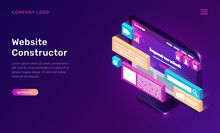 Website Constructor Isometric Concept Vector Illustration. Software Landing Page Template For Creating Customize Website Design, Interface, Computer Monitor With 3D Icons On Ultraviolet Background
