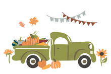 Vector Illustration, Harvest Truck With Vegetables