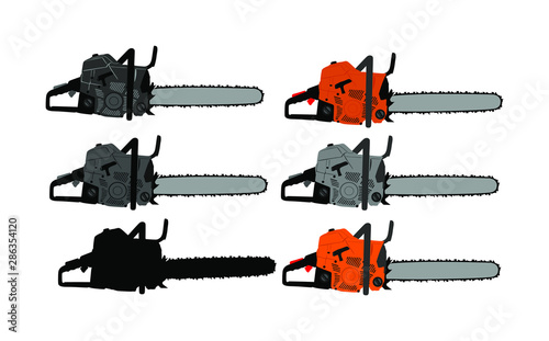 Fényképezés Chainsaw vector illustration isolated on white background