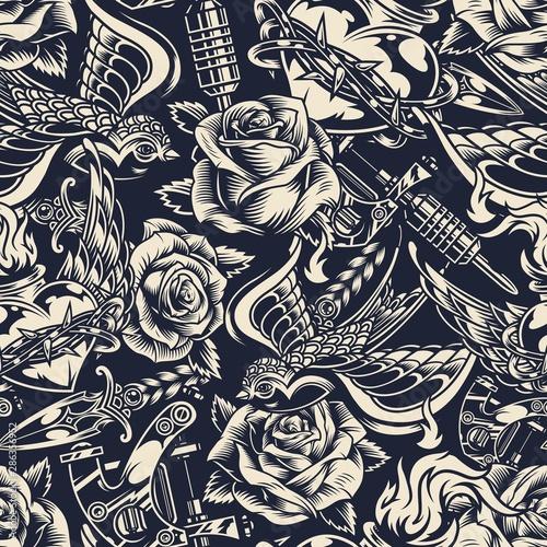 obraz lub plakat Vintage monochrome tattoos seamless pattern