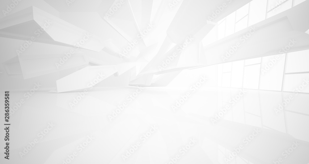 Fototapety, obrazy: Abstract architectural white interior of a minimalist house with large windows.. 3D illustration and rendering.