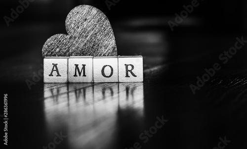 Imagen de amor para el día de San Valentín en blanco y negro Canvas Print