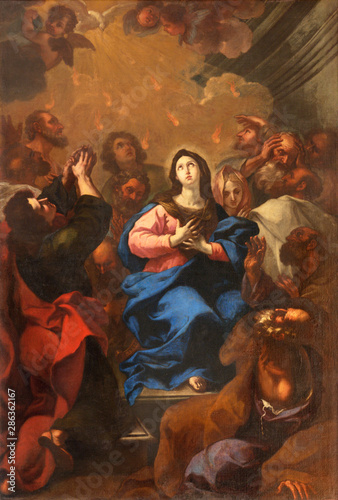 ARCO, ITALY - JUNE 8, 2018: The painting of Pentecost in the church Chiesa Collegiata dell'Assunta by unknown artist.