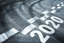Conceptual Entering New Year 2020 On Asphalt Road Background.