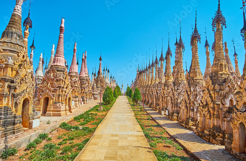 Photo  The alley among ancient stupas, Kakku Pagodas, Myanmar