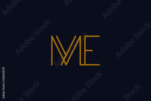 Creative Innovative Initial Letter logo ME EM Canvas Print