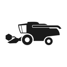 Combine Harvester Icon. Black Silhouette. Side View. Vector Drawing. Isolated Object On A White Background. Isolate.