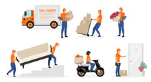 Delivery Service Workers Flat Vector Illustrations Set. Couriers, Postman, Deliveryman With Order, Parcel Cartoon Characters Isolated On White Background. Scooter, Home Delivery Concept