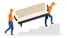 Furniture Delivery Service Flat Vector Illustration. Warehouse Workers Carrying Sofa Cartoon Characters Isolated On White Background. Courier, Deliveryman, Loader Men Delivered Couch. Shipping Concept