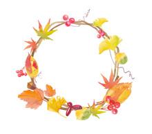 秋の自然物でできたリースのフレーム。レイアウト変更可能な水彩イラストベクター。もみじ、イチョウ、サンキライ、木の実