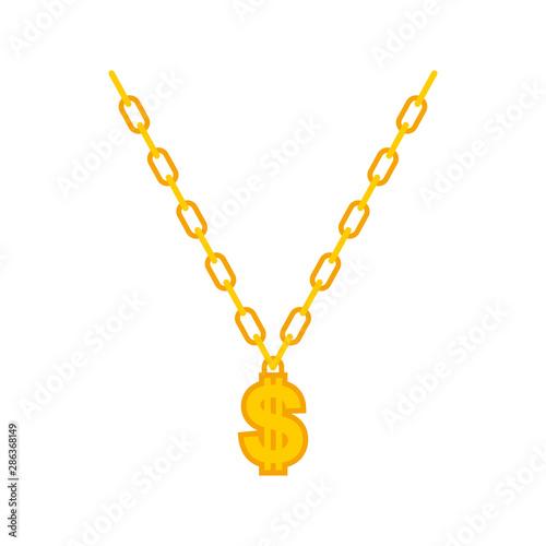 Obraz na plátne Dollar on gold chain. Rapper necklace. vector illustration