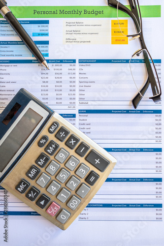 close up image of a budgeting spreadsheet - 286368340