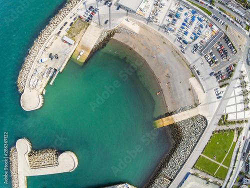 Obraz na płótnie Aerial view of Pier and Greystones beach