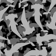 Hammerhead Shark Pattern Seamless. Water Predator Background. Large Predatory Sea Fish Ornament. Vector Texture