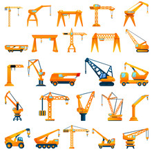 Crane Icons Set. Cartoon Set O...