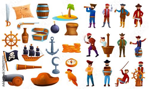 Pirate icons set Tablou Canvas