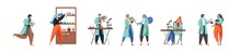 Science People In Lab, Vector Flat Isolated Illustration