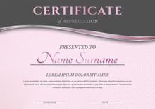 Feminine Pink Certificate Diploma Template