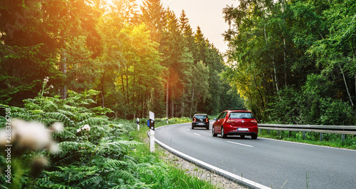 Fototapeta Aachen, Germany - August 26, 2019: VW Volkswagen Golf and UP car in european mou