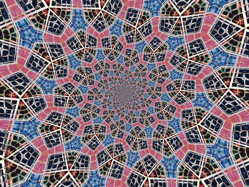 Fototapeta  Colorful digital graphic kaleidoscope symmetry mandala style in laser light tria