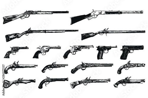 Fotomural  Vintage old gun concept isolated vector illustration