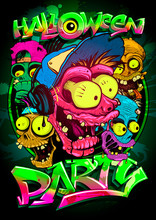 Halloween Party Poster With Zombie Crowd, Hand Drawn Graphic Banner