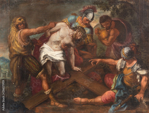 MALCESINE, ITALY - JUNE 13, 2019: The painting of Jesus before Pilate (part ot Via Crucis) in church Chiesa di Santo Stefano by unknown artist of 17. cent.