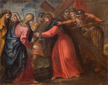 MALCESINE, ITALY - JUNE 13, 2019: The Painting Of Jesus Meet His Mother (part Ot Via Crucis) In Church Chiesa Di Santo Stefano By Unknown Artist Of 17. Cent.