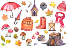 Autumn Illustration Of Umbrellas, Knitwear Clothing, Rubber Boots, Apples, Mushrooms, Cute Owl, Hedghog And Colorful Leaves. Watercolor Isolated On White Background.