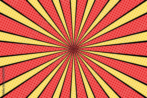 Photo sur Aluminium Pop Art Vector comic book background. Sunburst halftone pattern in retro pop art style