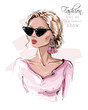 Hand drawn beautiful young woman in sunglasses. Stylish girl with earring. Fashion woman look. Sketch. Vector illustration.