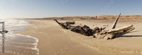 Stampa su Tela MV Dunedin Star Shipwreck at the beach on the Skeleton Coast in the Namib Desert, Namibia