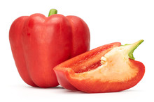 Group Of One Whole One Slice Of Bright Red Bell Pepper Isolated On White Background