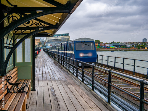 Southend Pier Railway station on the west shore of England Canvas Print