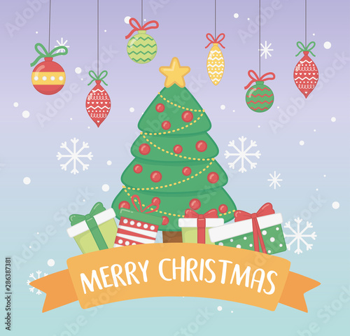 Fototapety, obrazy: happy merry christmas card with pine tree