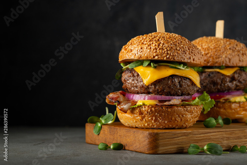 Fototapeta A set of homemade delicious burgers of beef, bacon, cheese, lettuce and tomatoes on a dark concrete background. Fat unhealthy food close-up. With copy space obraz