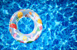 canvas print picture - New modern tropical kids Lifebuoy pool float pool ring in cool blue refreshing swimming pool