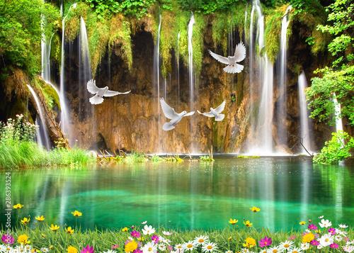 Recess Fitting Waterfalls 3d nature wallpaper background and waterfall, sea , seagulls wood bridge