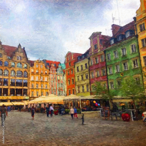 Staande foto Europese Plekken Oil painting view of Wroclaw city in Poland. Travel in europe scene. Old architecture and town elements. Large print for design paper or canvas. Wall art contemporary impressionism decoration.