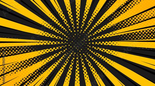 stripe rays safety warning dangerous pop art style background, vector sign Ioniz Fototapet