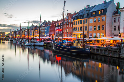 Copenhagen city and canal Nyhavn in Denmark Wallpaper Mural