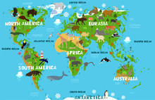 Children S World Map With The ...