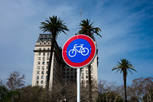 Bicycle Street Lane Sign In Buenos Aires, Argentina.