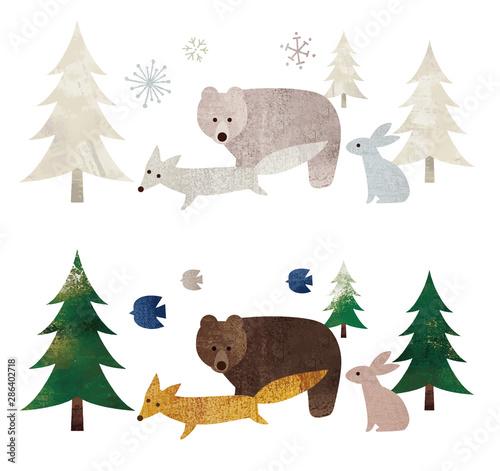 Billede på lærred 森と動物達水彩