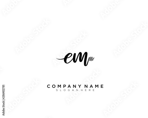 EM Initial Handwriting Logo Template Vector Canvas Print