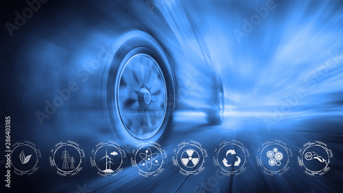 EV Car with green power Fototapete