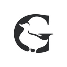 Letter G And Duck Symbol. Vector Logo. Icon Illustration.